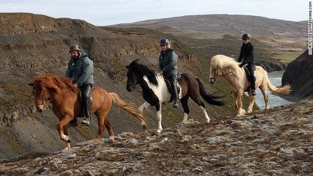 Iceland's distinctive small horses glide through lava fields here. Their unique way of moving, called the tölt, allowed Icelanders to use these horses as their sole mode of transportation for centuries.  You can combine riding with visits to Iceland's top sights, including the mighty Gullfoss waterfalls and hot springs. You can spend nights on local farms soaking in hot pools under the stars.