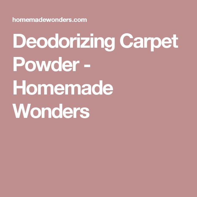 Deodorizing Carpet Powder - Homemade Wonders