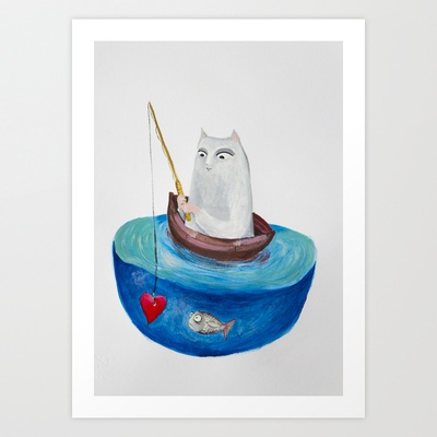 Fishing Art Print by Elena Goatelli - $20.00