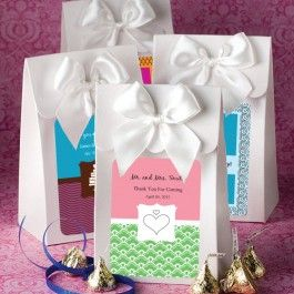 As Low As $0.56 Take Home Bag Wedding Favors Send your guests home with a whole collection of treats packaged with style that is all your own when you use Truly Yours Shiny Take Home Bags as the customized glimmer on your event tables.