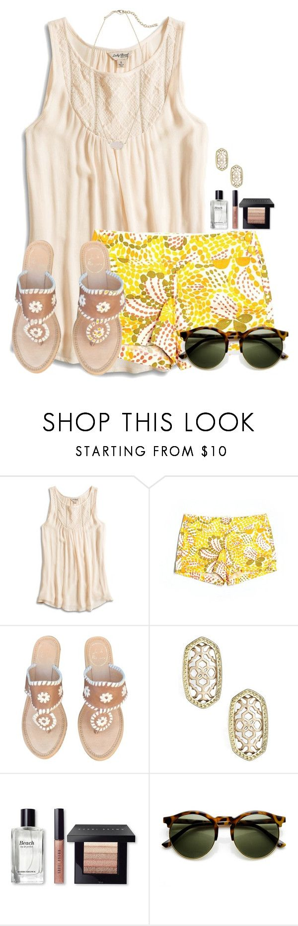 """~Sunshine~"" by flroasburn on Polyvore featuring Lucky Brand, J.Crew, Jack Rogers, Kendra Scott and Bobbi Brown Cosmetics"