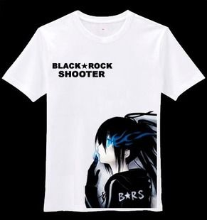high quality black rock shooter cosplay Costumes cotton t-shirt summer short-sleeve cotton t-shirts #Affiliate