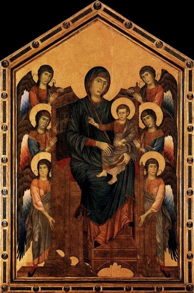 Мадонна на троне с ангелами. Чимабуэ., 1290-95 гг. Лувр, Париж.