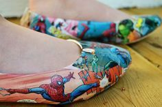 comic book shoes for Parker; do it with fabric vs paper to help deal with cracking issue
