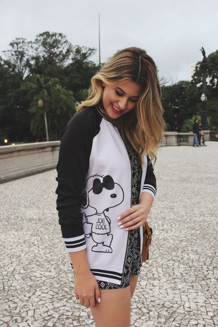 Look do dia: macaquinho  bomber de Snoopy