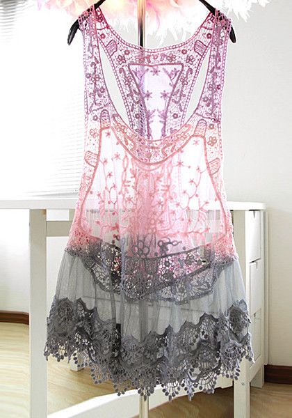 This lace racerback cover up features a gradient color design of lavender, pink and grey colors.