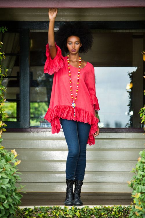 Hacienda Red tunic from Naudic Spring 14 collection