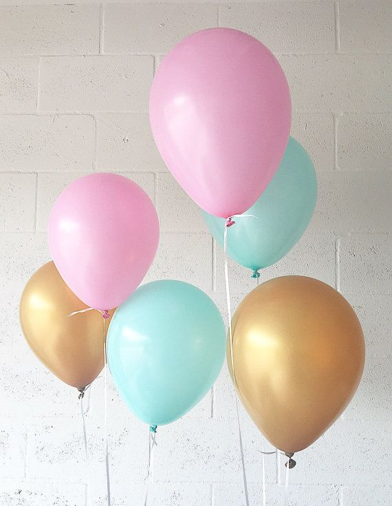 Pink Mint Gold Latex Balloons Pink Balloons Gold by OhhHowCharming