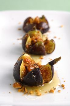 """Roast Figs and Honey  figs have between 30-40 calories. 1-1/2"""" dia is sm and has 30 cals. Melt a small amount of brie in each and drizzle with honey and scatter chopped roasted pecans or any nut. Sorta healthy but you cant stop at one so be careful. :)"""
