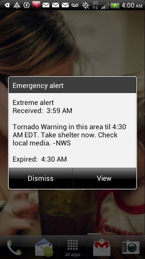 """What does a tornado sound like?? Update on TS #Andrea and its tornado warnings in #Florida. Also tips on how to prepare, ride it out and after it hits. Pic: Tornado Warning """"Siren"""" Received Via Cell Phone at 3:59am"""