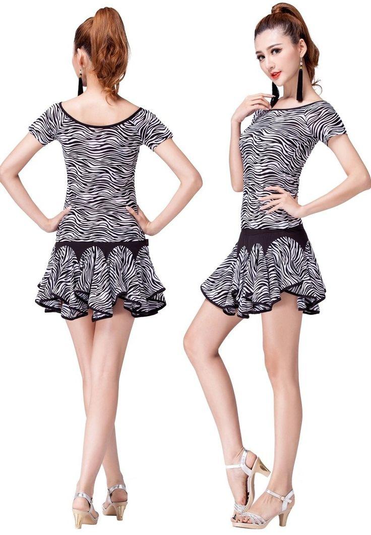 1 комплект ladys латинский танцы юбка элегантный вальс танцевальный зал танец платье зебра узор купить на AliExpress