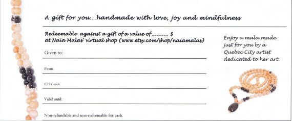 GIFT CERTIFICATE  coupon code gift card  gift idea  by NaiaMalas