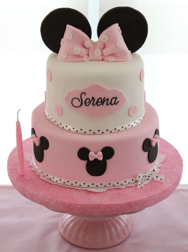 Minnie Mouse birthday party cake! See more party planning ideas at CatchMyParty.com