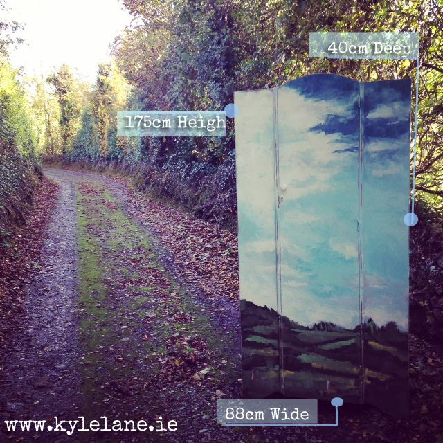 Upcycled Wardrobe , hand painted scene on a wardrobe of the knockmealdown mountains in Ireland