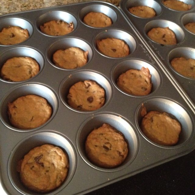 Baking Tip ~ Photo only but pinner says... Bake your favorite cookies in muffin tins, they don't flatten out and they stay soft