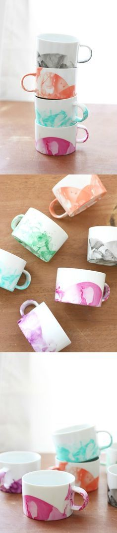 Did you know you can make cool DIY marbled mugs with nail polish? It's easy and you can have gorgeous mugs in minutes that cost less than a dollar each! (link: http://diycandy.com/2015/04/diy-marbled-mugs-with-nail-polish/ ) diy project, cool diy, minimal diy, coloblock diy, diy projects