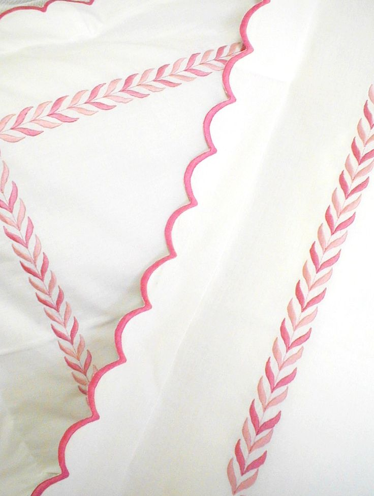 Luxury Embroidered Linens-Scallop Pique Bed Linens-Custom Embroidery