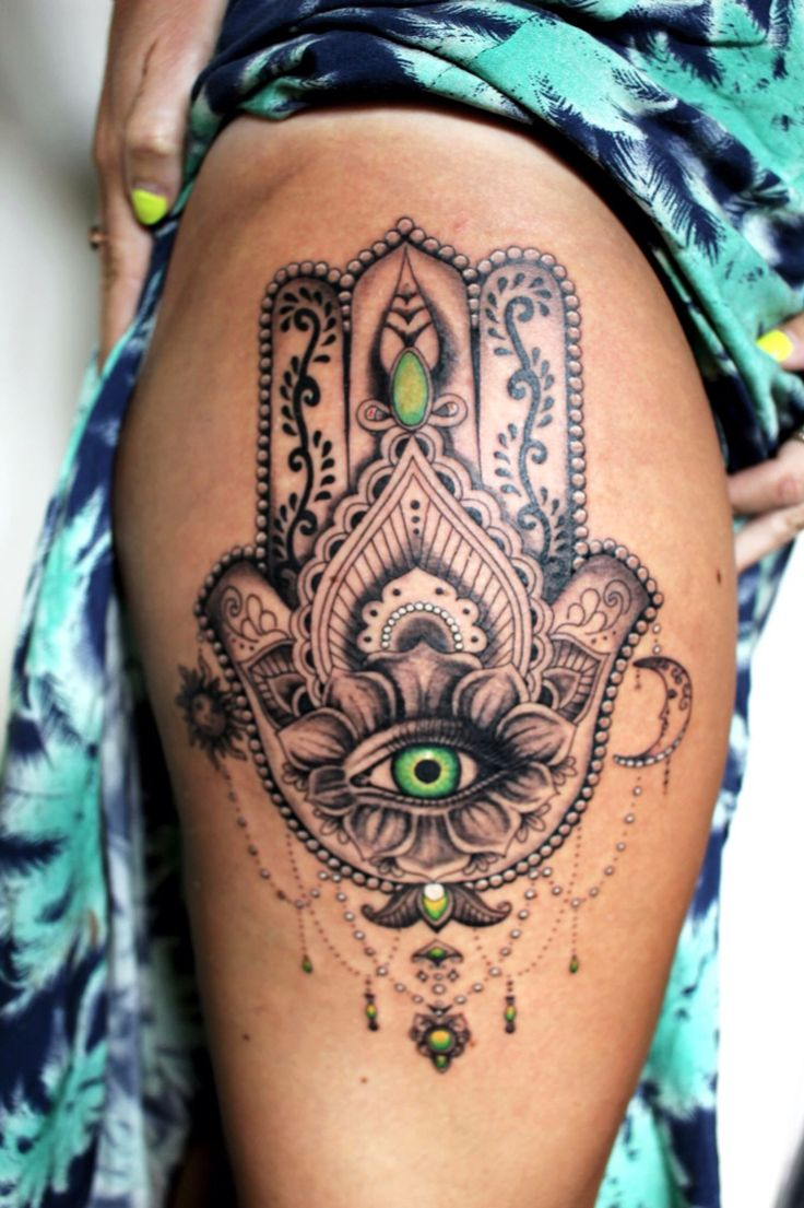 I did this mandala thigh tattoo a couple of weeks ago. Loved using green in the eye! www.tattooguy.co.uk