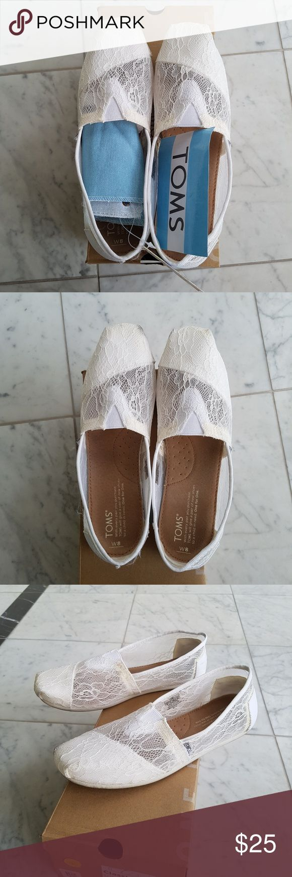 Classic White Lace TOMS Women's Size 8. Worn twice. Comes in box with flag & sticker. Great for summer or makes an awesome comfortable wedding shoe! TOMS Shoes
