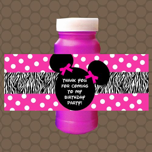 Hot pink minnie mouse zebra birthday bubble labels wrappers stickers printable uprint digital diy instant download