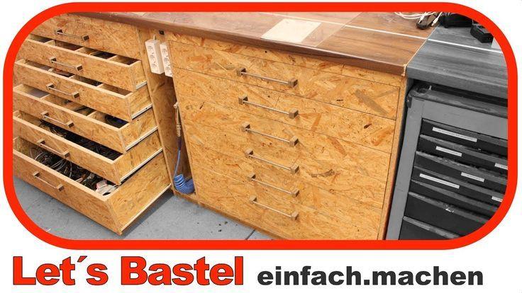1 3 Werkstattschrank Mit Schubladen Selber Mache Mache Mit Schubladen Selber Selberbauen Werkstatt Workshop Cabinets Pallet Projects Easy Wood Diy