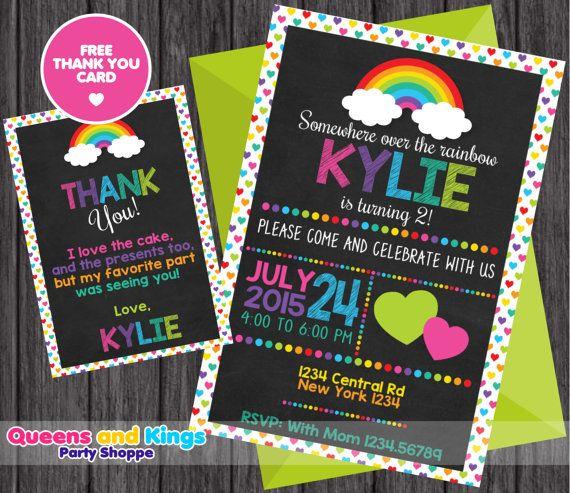 Invitación del arco iris invitación del cumpleaños del arco
