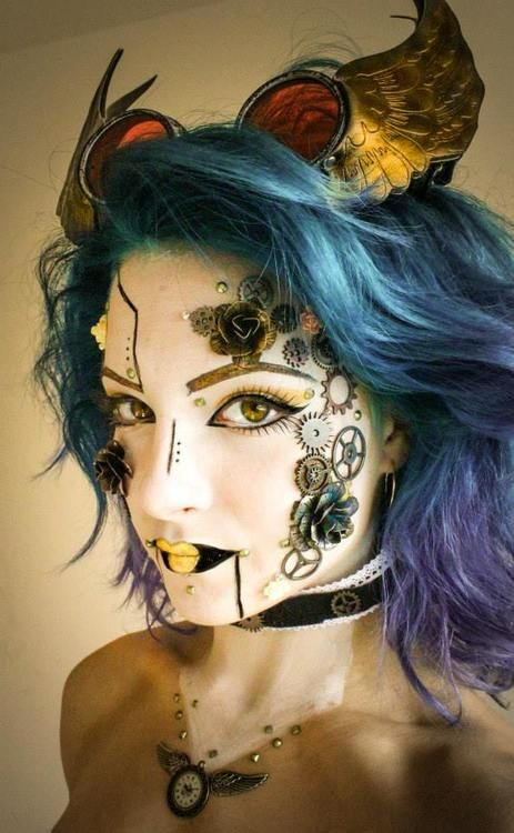 Steampunk look. I'm not a fan of cogs stuck to the face, but the lips look amazing!