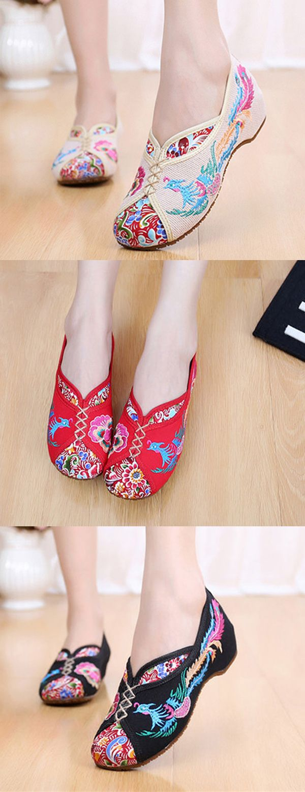 $11.93 Floral Embroidered Beijing Style Vintage Flat Shoes,Chinese Style Fashion, Flat Shoes Outfit,Shoes Flats