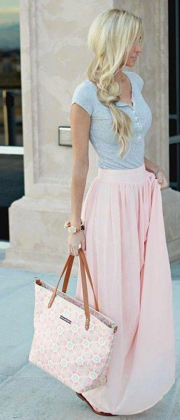 Asymetric pink dress + grey top                                                                             Source