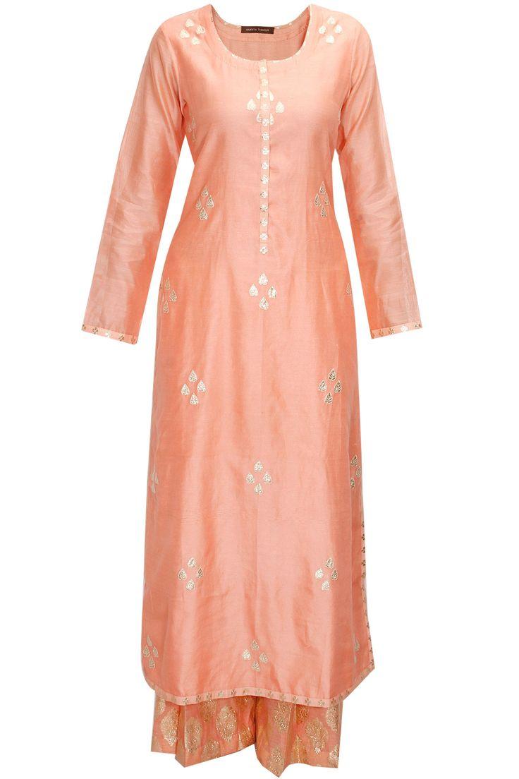 Peach and mint green gota patti work kurta set by Amrita Thakur  Shop now:http://www.perniaspopupshop.com/designers/amrita-thakur #shopnow #amritathakur #perniaspopupshop