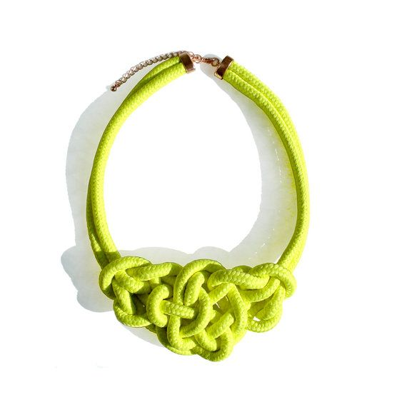 Rope Necklace - Neon Yellow - 41 € on etsy
