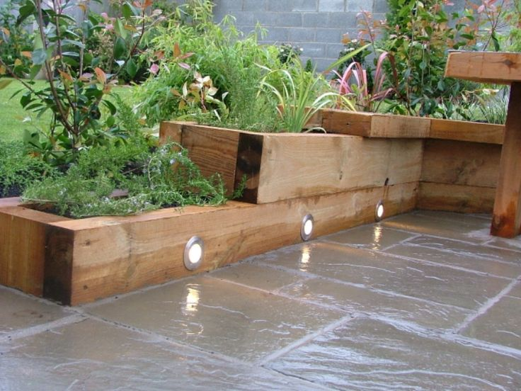 Small Gardening Ideas With Limestone Slate Pavings U0026 Wood Raised Bed With  Floor Lights, 27 Interior U0026 Patio U0026 Garden Designs In Beautiful Small Garden  ...