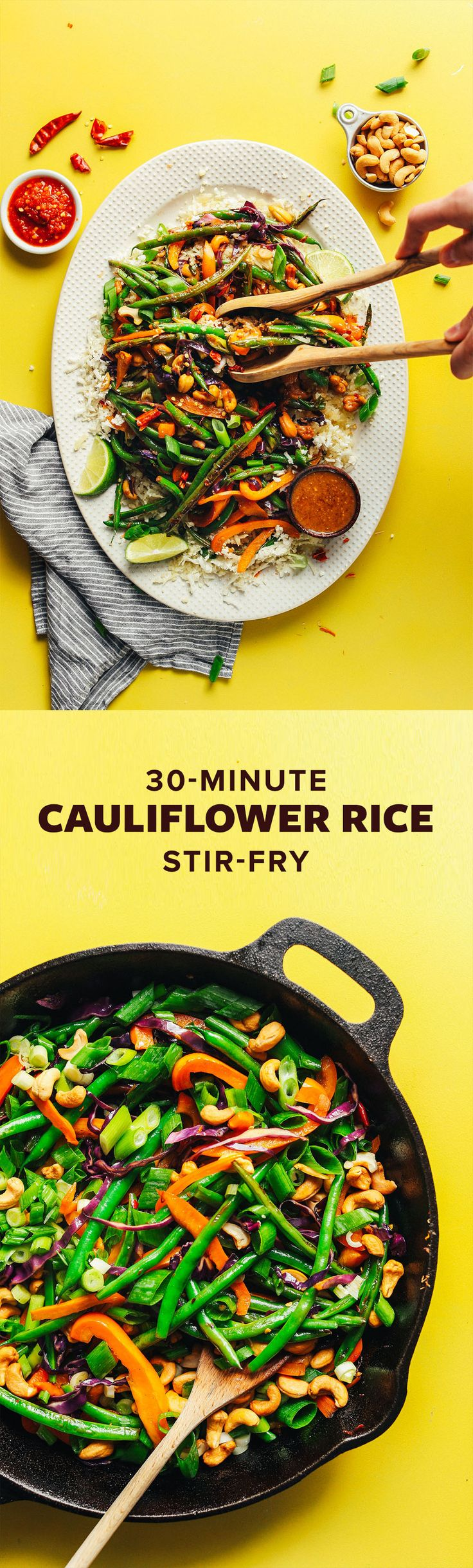 Weeknight Cauliflower Rice Stir Fry with Veggies + Cashews! 30 minutes, SO healthy + satisfying