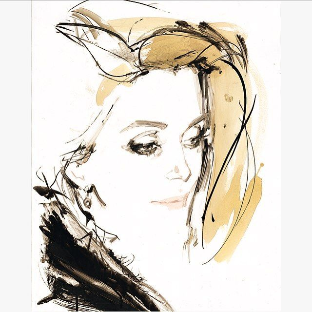 "In 1999, I drew Catherine Deneuve at the Hotel Lutetia in Paris.She arrived alone, braving a rainstorm and a riot and was frank, easy going and amusing company throughout (had I expected Marianne, that silent and all-seeing symbol of France?). 6 months later, back in Paris for couture, we met at the Saint Laurent show. I had a unwieldily portfolio with me and a security guard moved to block my entrance to the post-show cocktail. ""Nous sommes ensemble,"" said Catherine Deneuve. Her birthday…"