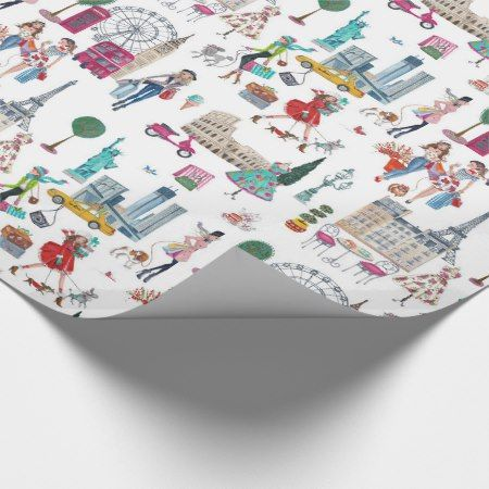 Shop til you drop | wrapping paper - click/tap to personalize and buy  #pattern #patterns  #illustrations #illustration #girly #feminine  #travel #city #cities #london #paris #newyork