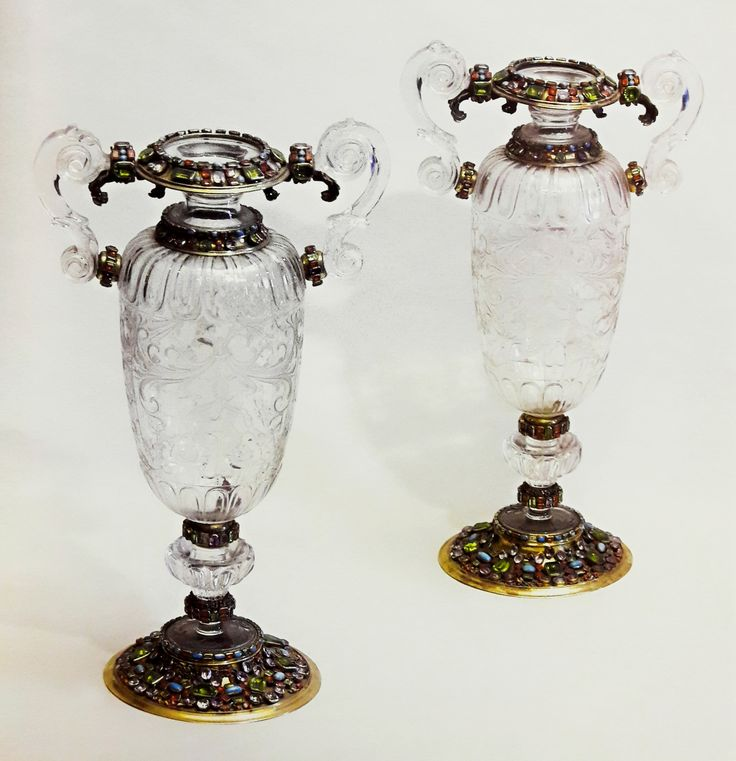 Crystal vases in silver framing set with precious stones by Anonymous from Augsburg, thrid quarter of the 17th century, Skarbiec Paulinów na Jasnej Górze, offered by Queen Maria Josepha of Austria to the Jasna Góra Monastery in 1744, possibly from the collection of Michael Korybut Wiśniowiecki