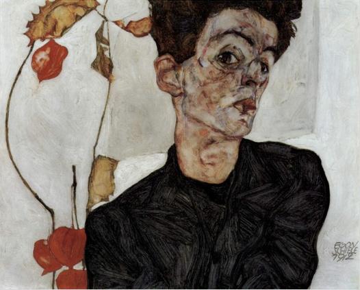 Egon Schiele - 꽈리열매가 있는 자화상     에곤쉴레의 자화상이다. 실제 사진과 비교하면 닮았지만 같진않다. 그의 주관적 시각을 보여주는 작품이다. 또 그의 어떻게 보면 만화같은 그만의 그림체를 알 수 있다.