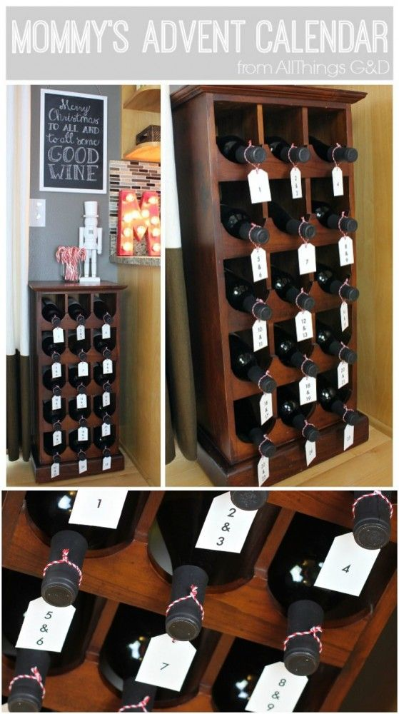Advent Calendar Adults Diy : How to turn a wine rack into mommy s advent calendar