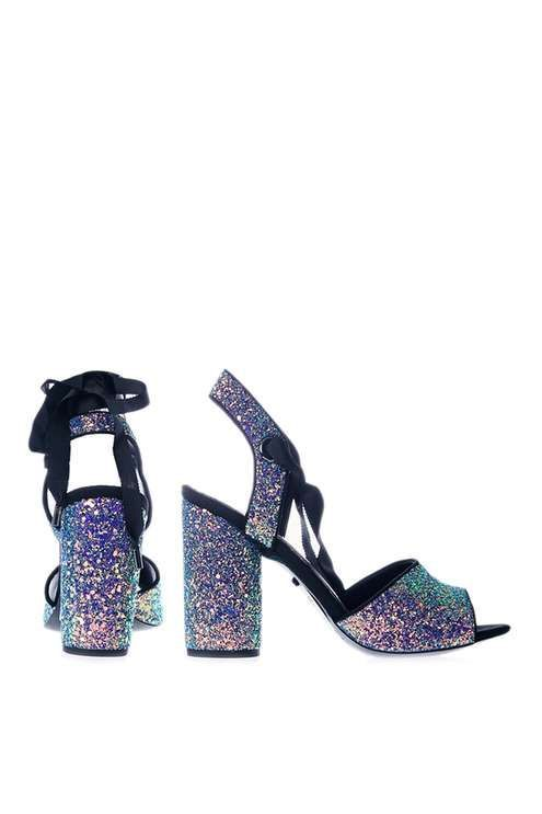 Shimmery hues and wrap-tie details add a touch of luxe to the classic heeled sandal. These strappy mid-heels feature a colourful all-over glitter and wrap-around strap to the ankle. #Topshop