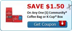 Save $1.50 On Any One (1) Community® Coffee Bag or K-Cup® Box - http://www.printablecouponsforfree.com/save-1-50-on-any-one-1-community-coffee-bag-or-k-cup-box/
