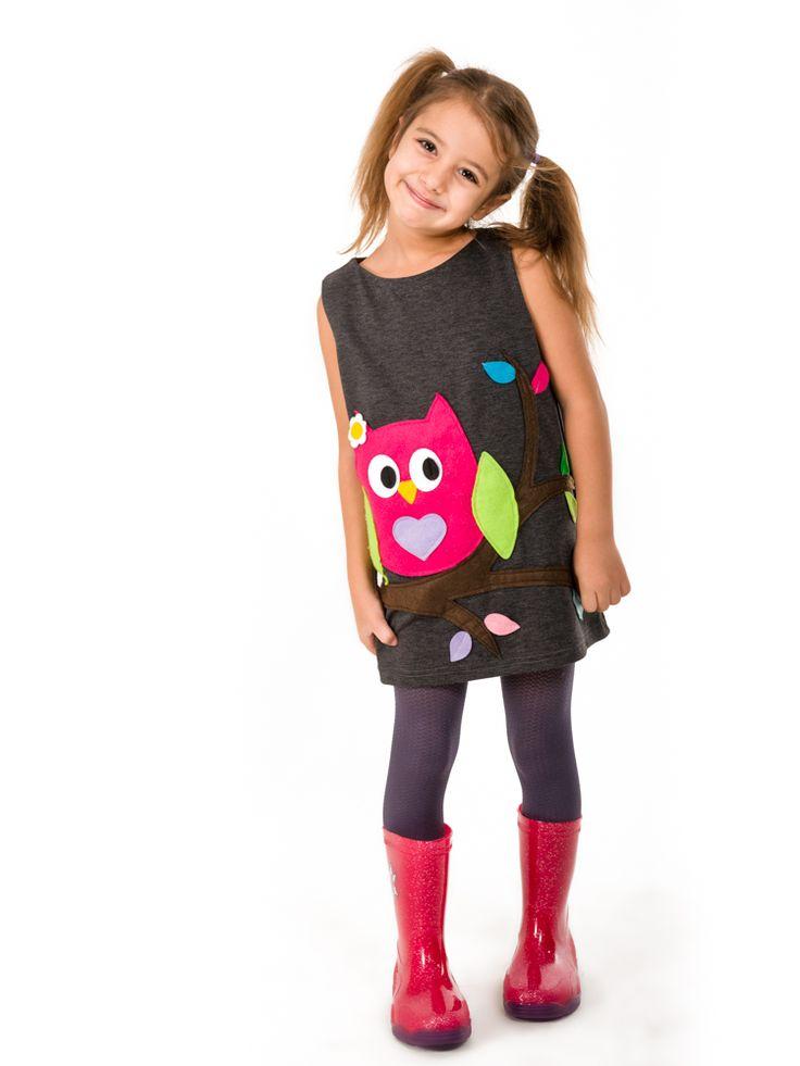 owl dress,handmade dress,felt aplique dress,girls dress,girls clothing,felt applique dress