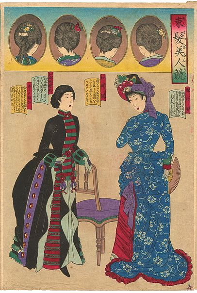 From Old Rags: Japanese woodblock fashion prints from 1887. More images at http://oldrags.tumblr.com/post/33657740380/japanese-woodblock-fashion-prints-from-1887#