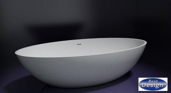 Best Design Solid New Stone vrijstaand bad 180x85x52cm glans wit