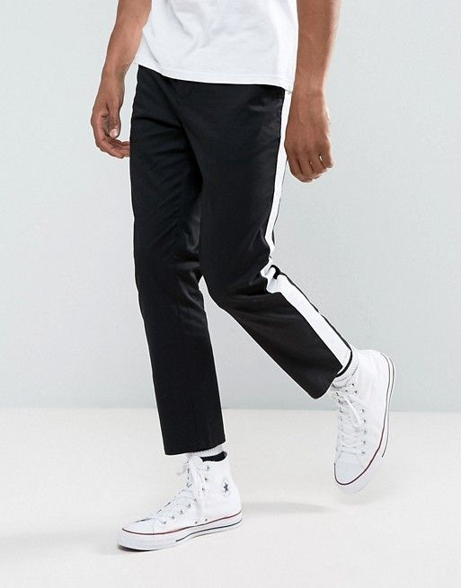 ASOS Slim Chinos With Side Stripe In Black
