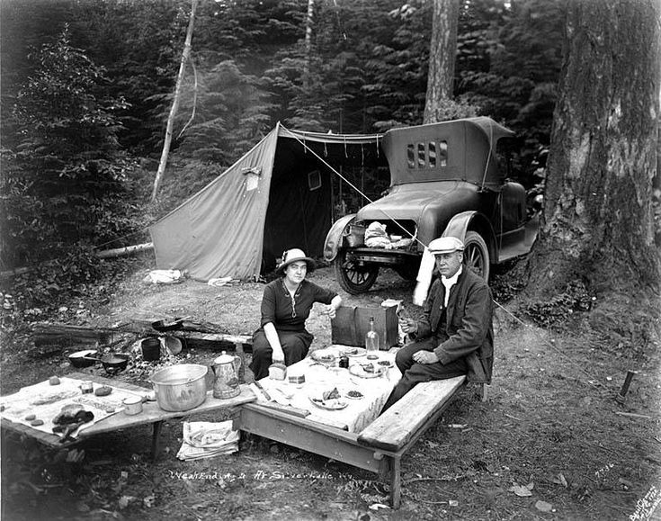 Camping back in the day... Looking mighty spiffy for mealtime. - (vintage photo, outdoors)