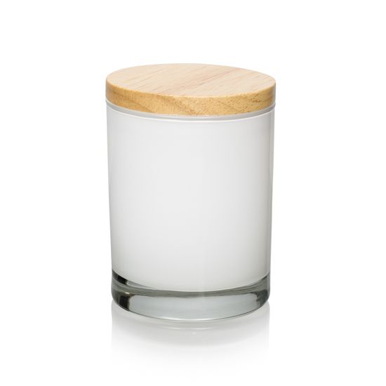 Libbey 2339 painted gloss white and dressed with Natural Rubberwood Lid - 83mm | A stunning finish on this jar. Holds around 300ml of wax.