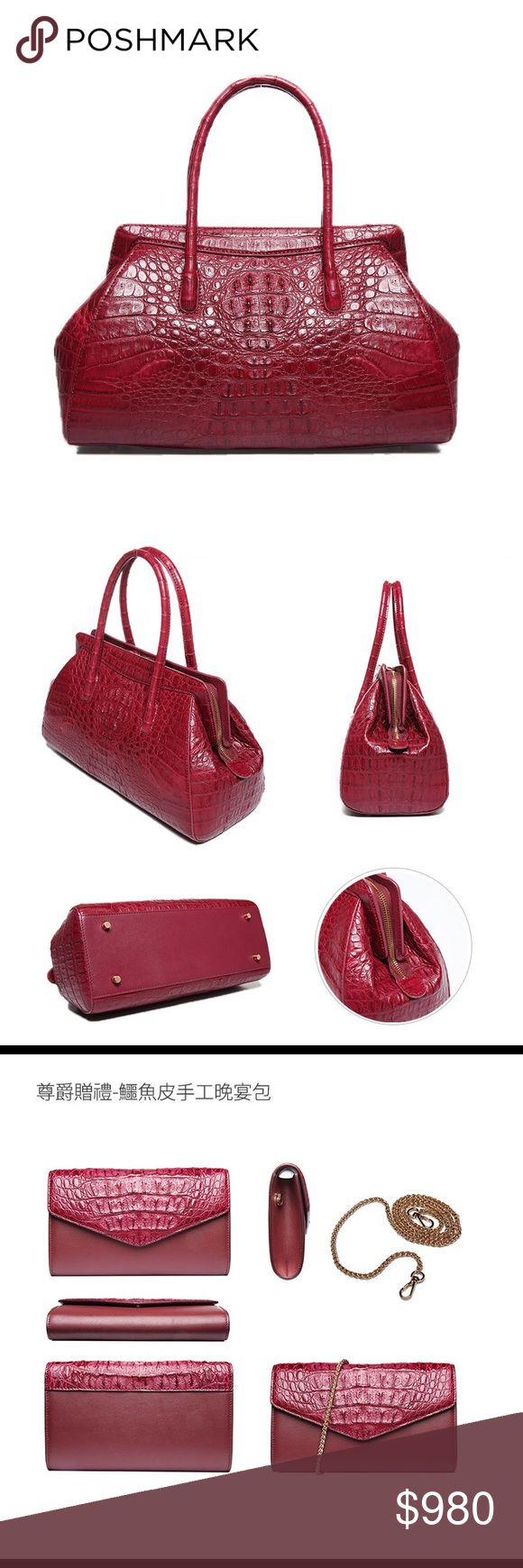 "D'MOM Deluxe Noble Series Nile Crocodile Handbag🎀 🌺 description is in the last picture.   🌹2017 officially signed with (LVMH) crocodile leather supplier Singapore HENG LONG signed a contract.   🌹D'MOM selection of ""super"" grade crocodile leather.  🌹customize service/ Crocodile leather v.s handmade  🌺 website: dmomspain.com D'MOM Bags"