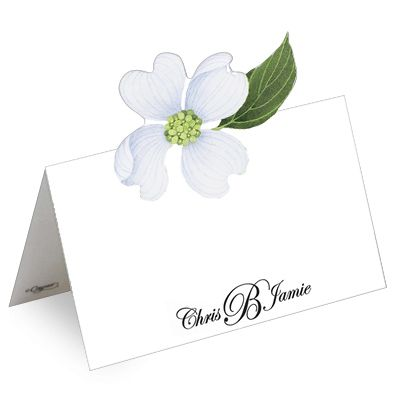White Blossom Die Cut Personalized Placecards