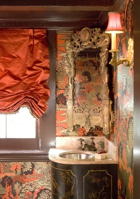 Melissa RuftyDecor, Bathroom Design, Romans Shades, Bathroom Wall, Bathroom Ideas, Powderroom, Chinoiserie Wallpaper, Chinoiserie Chic, Powder Rooms