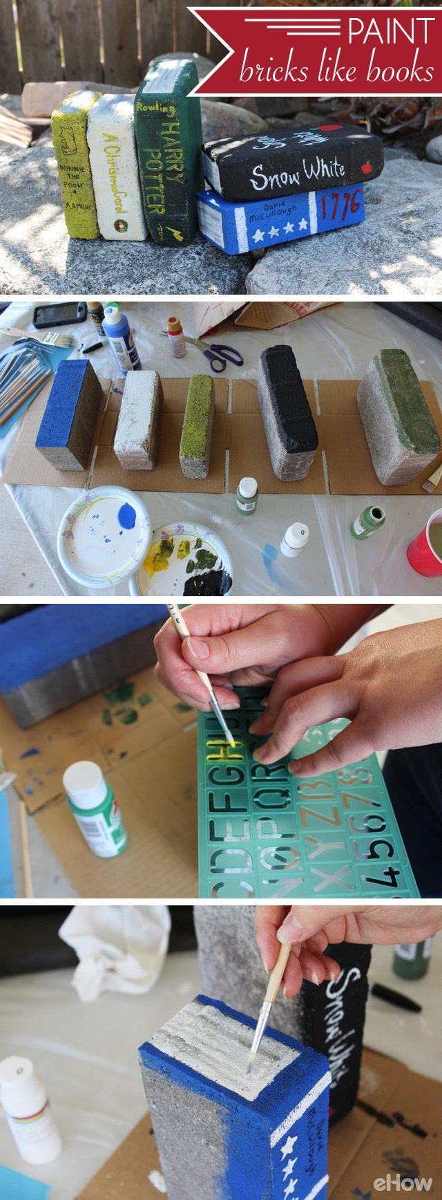 How To Paint Bricks To Look Like Books